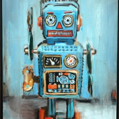 Curley Robot SOLD - Oil on Canvas