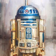 R2 D2 SOLD - Oil on Canvas 30 x 45 Shadow Box Frame