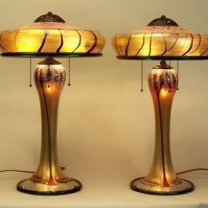 Pair Blown Glass Lamps - Cherry Blossom Lamps