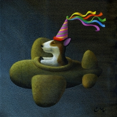 Party Hat SOLD - Acrylic on Board 12 x 12