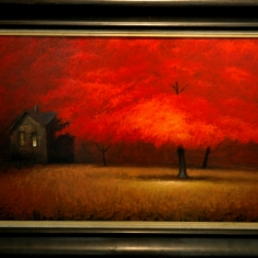 Long Red Dusk - Oil on Board 57 x 33 framed