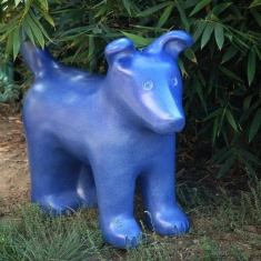 Blue Dog - Ceramic Outdoor or Indoor Sculpture