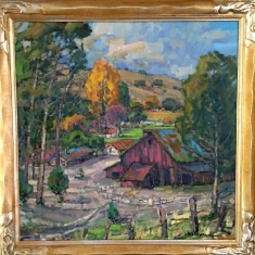 Fiscallini's Farm SOLD - Oil on Linen 31 x 31 Hand Carved Frame