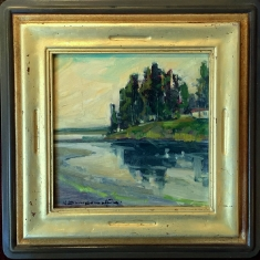 Reflections San Simeon - Oil on Linen Hand Carved Frame 17x17