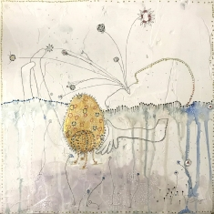 Eggs Where Listening is Observed - Mixed Media on Panel 12 x 12