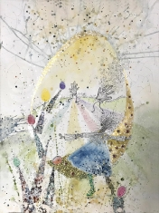 I Am the Egg Lady #6 - Collage, Water Color Pin and Ink, Oil on Paper 31 x 39 Framed