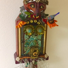 Foxy Lady with a Cheshire Smile - Assemblage 37 x 12