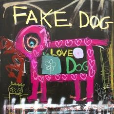 Fake Dog  - Print on Canvas 36 x 36 or 48 x 48