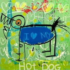 Hot Dog - Print on Canvas 36 x 36 or 48 x 48