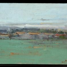 Grey Day-Greenfield - Acrylic on Canvas 10x13framed