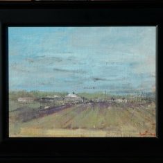 Nipomo Lilacs - Original oil on linen on board 15.5 x 12.5 Framed