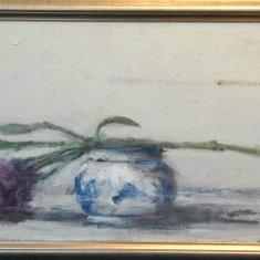 Statice - Acrylic on Canvas 12 x 28 framed