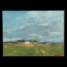 White Barn Wheatville - Original on linen on board 15.5 x 12.5 Framed