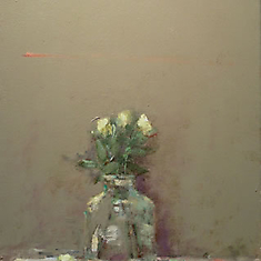 Yellow Roses in Glass Bottle SOLD