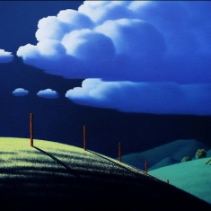 Night Fence    SOLD - Original Oil on Canvas 24 x 36