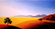 Three on a Hillside SOLD - Oil on Canvas 24 x 40