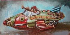 Buck Rogers - Oil on Canvas Framed 15 x 30