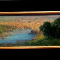 Santa Rita Creek Evening SOLD - Oil on linen 15 x 22 Framed