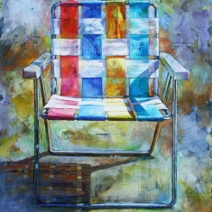 Lawn Chair SOLD - Oil on Canvas 54 x 48 Unframed