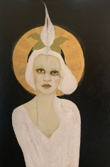 Flower Child SOLD - Acrylic on Canvas and Gold Leaf 24 x 36