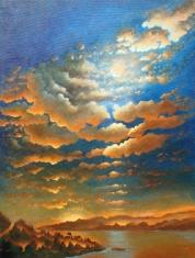 Mellow Sundown and Harvest Moonrise - Oil on Canvas 40 x 30
