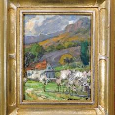 McCalls Farm - Oil on Linen Hand Carved Frame 12.5 x 14.5