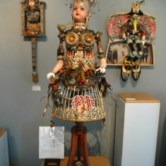 Queen of Hearts Playing With Full Deck SOLD - Assemblage 52 x 26 x 26