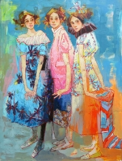 The Triplets - Original Oil and Acrylic on Canvas 48 x 36